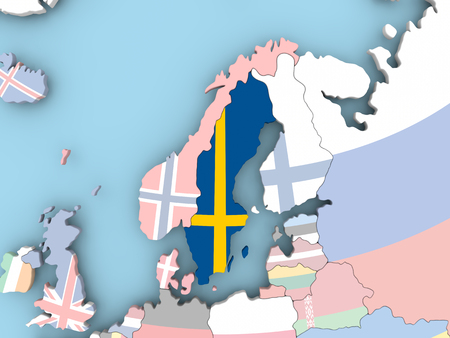 Sweden with embedded flag. 3D illustration. Stock Photo