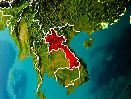 Laos in the morning highlighted in red on planet Earth with visible border lines and city lights. 3D illustration.