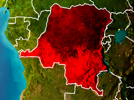 Democratic Republic of Congo in the morning highlighted in red on planet Earth with visible border lines and city lights. 3D illustration.