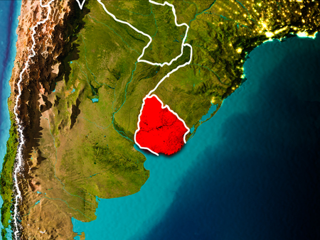 Uruguay in the morning highlighted in red on planet Earth with visible border lines and city lights. 3D illustration.