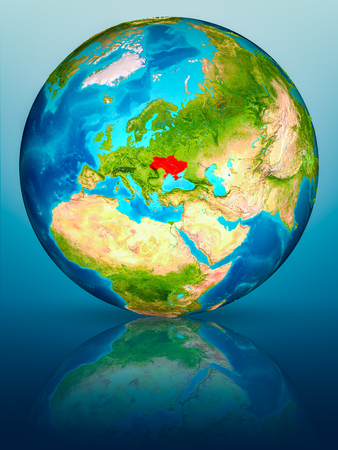Ukraine in red on model of planet Earth on reflective blue surface. 3D illustration. Stock fotó