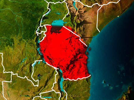 Tanzania in the morning highlighted in red on planet Earth with visible border lines and city lights. 3D illustration. 版權商用圖片