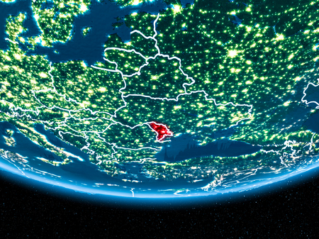 Moldova in red with visible country borders and city lights from space at night. 3D illustration.