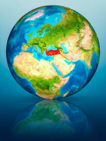 Turkey in red on model of planet Earth on reflective blue surface. 3D illustration.