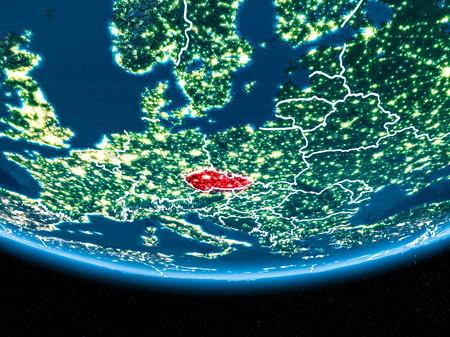 Czech republic in red with visible country borders and city lights from space at night. 3D illustration.
