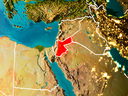 Jordan in the morning highlighted in red on planet Earth with visible border lines and city lights. 3D illustration.