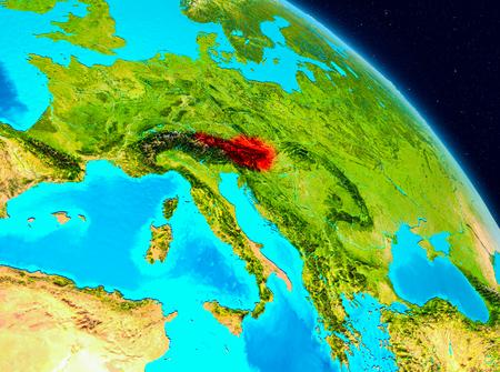 地球上の赤で強調表示されているオーストリアの空間ビュー。3 D イラスト。