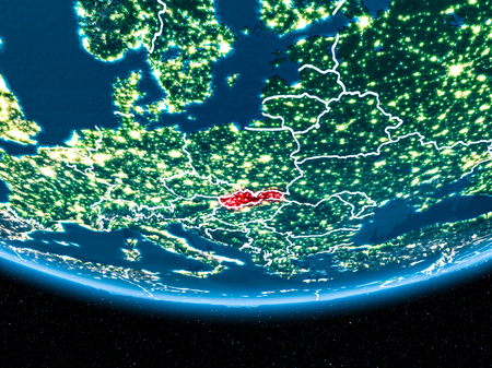 Slovakia in red with visible country borders and city lights from space at night. 3D illustration.