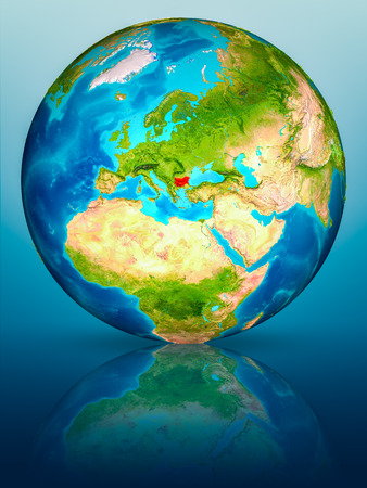 Bulgaria in red on model of planet Earth on reflective blue surface. 3D illustration.