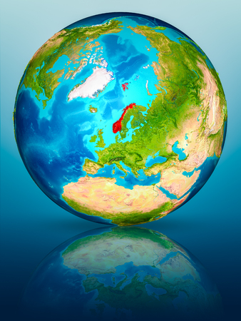 Norway in red on model of planet Earth on reflective blue surface. 3D illustration.