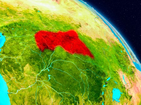 Space view of Central Africa highlighted in red on planet Earth. 3D illustration.