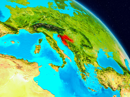 Space view of Croatia highlighted in red on planet Earth. 3D illustration.