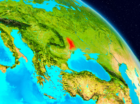 Space view of Moldova highlighted in red on planet Earth. 3D illustration.