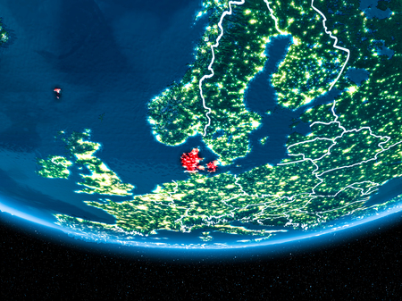 Denmark in red with visible country borders and city lights from space at night. 3D illustration.