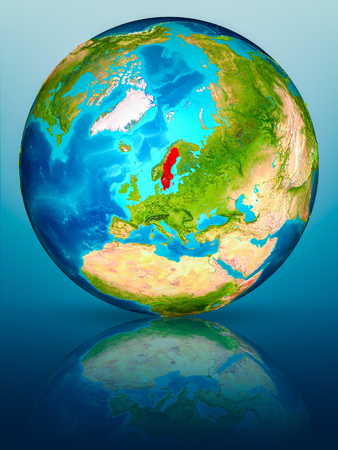Sweden in red on model of planet Earth on reflective blue surface. 3D illustration.