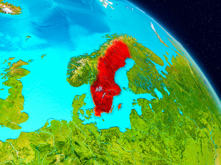 Space view of Sweden highlighted in red on planet Earth. 3D illustration.
