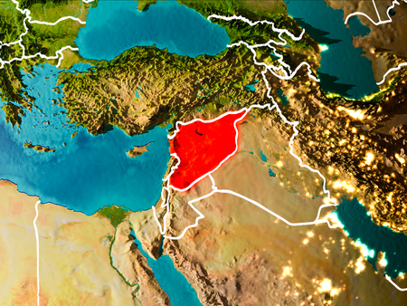 Syria in the morning highlighted in red on planet Earth with visible border lines and city lights. 3D illustration.