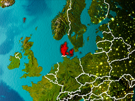Denmark in the morning highlighted in red on planet Earth with visible border lines and city lights. 3D illustration. Stock Photo
