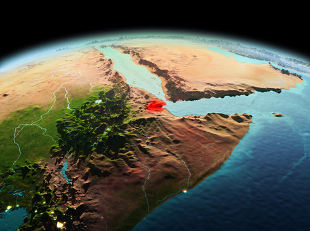 Morning above Djibouti highlighted in red on model of planet Earth in space. 3D illustration. Stock Photo