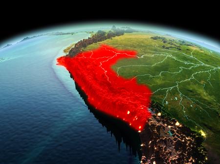 地球空間内のモデルの赤で強調表示されますペルー上の朝。3 D イラスト。 写真素材