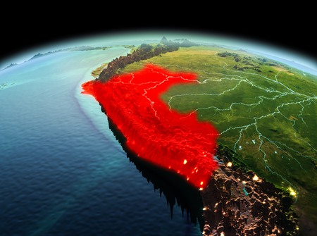 Morning above Peru highlighted in red on model of planet Earth in space. 3D illustration. Imagens