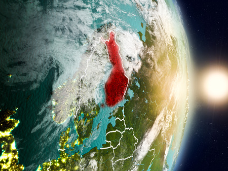 Finland during sunrise highlighted in red on planet Earth with visible country borders. 3D illustration. Stock Photo