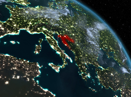 Night above Croatia highlighted in red on model of planet Earth in space. 3D illustration.