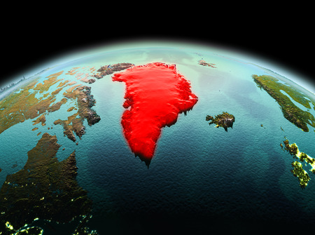 Morning above Greenland highlighted in red on model of planet Earth in space. 3D illustration.
