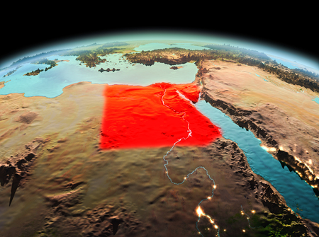Morning above Egypt highlighted in red on model of planet Earth in space. 3D illustration.