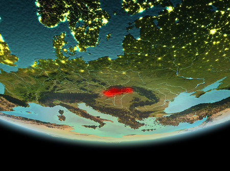 Slovakia from orbit of planet Earth at night with highly detailed surface textures. 3D illustration. Stock Photo