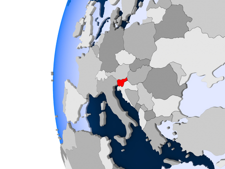 Slovenia in red on political globe with transparent oceans. 3D illustration.