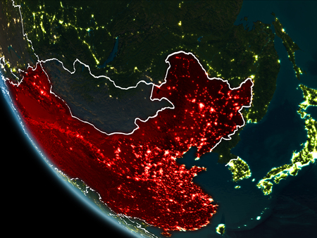 Satellite view of china highlighted in red on planet earth at illustration satellite view of china highlighted in red on planet earth at night with borderlines and city lights 3d illustration gumiabroncs Gallery