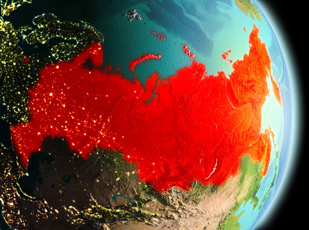 Early morning view of Russia highlighted in red on planet Earth. 3D illustration.
