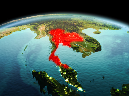 Morning above Thailand highlighted in red on model of planet Earth in space. 3D illustration. Stock Photo