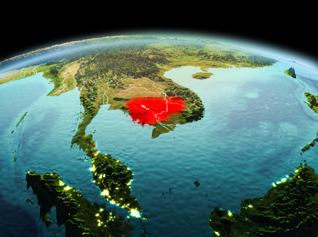 Morning above Cambodia highlighted in red on model of planet Earth in space. 3D illustration. Stock Photo