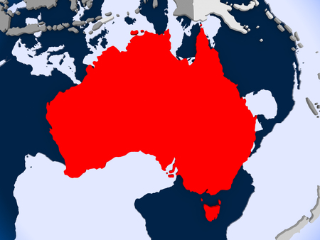 Australia in red on political map with transparent oceans. 3D illustration. Stock Photo
