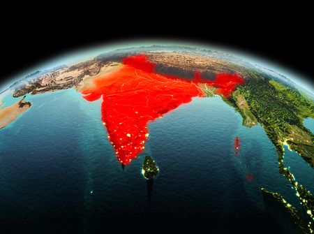 Morning above India highlighted in red on model of planet Earth in space. 3D illustration. Stock Photo