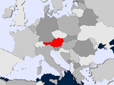 透明な海との政治地図の赤でオーストリア。3 D イラスト。