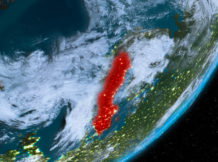 Sweden from orbit of planet Earth at night with highly detailed surface textures and clouds. 3D illustration. Stock Photo