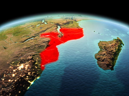 Morning above Mozambique highlighted in red on model of planet Earth in space. 3D illustration. Stock Photo