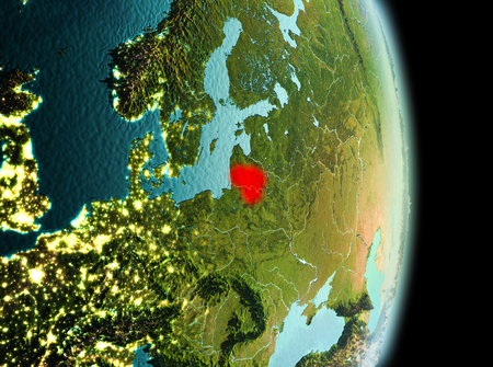 Early morning view of Lithuania highlighted in red on planet Earth. 3D illustration.