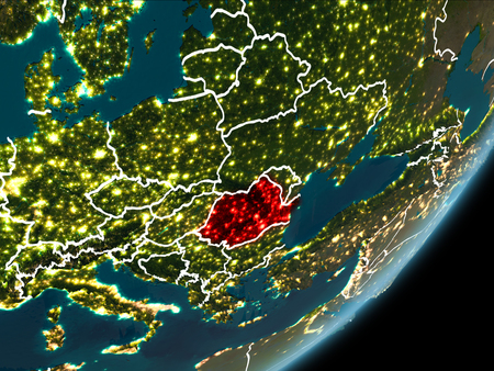 Romania as seen from Earth's orbit on planet Earth at night highlighted in red with visible borders and city lights. 3D illustration.