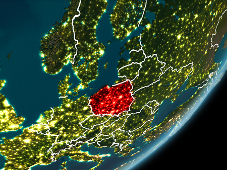 Poland as seen from Earth's orbit on planet Earth at night highlighted in red with visible borders and city lights. 3D illustration.