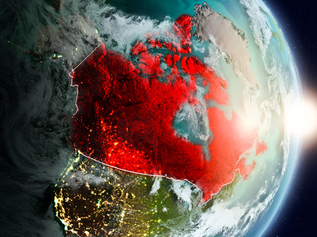 Canada during sunrise highlighted in red on planet Earth with visible country borders. 3D illustration. 写真素材