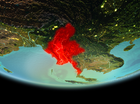 Myanmar from orbit of planet Earth at night with highly detailed surface textures. 3D illustration