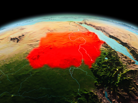Morning above Sudan highlighted in red on model of planet Earth in space. 3D illustration. Stock Photo