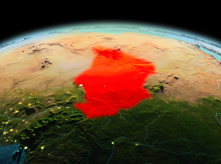 Morning above Chad highlighted in red on model of planet Earth in space. 3D illustration.