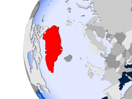 Greenland in red on political globe with transparent oceans. 3D illustration.