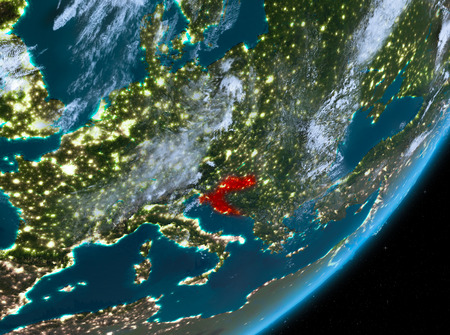 Croatia from orbit of planet Earth at night with highly detailed surface textures and clouds. 3D illustration.