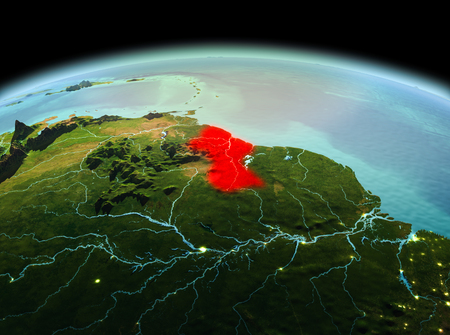 Morning above Guyana highlighted in red on model of planet Earth in space. 3D illustration.